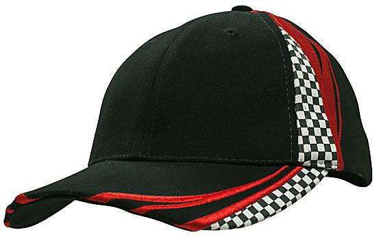 Headwear-Headwear Brushed Heavy Cotton with Embroidery & Printed Checks-Black/Red / Free Size-Uniform Wholesalers - 2