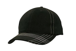 Headwear-Headwear Brushed Heavy Cotton with Contrasting Stitching & Cross Stitched Peak-Black/White / Free Size-Uniform Wholesalers - 4