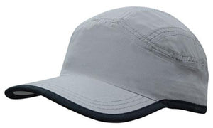 Headwear-Headwear Microfibre Sports Cap with Trim on Edge of Crown & Peak Cap--Uniform Wholesalers - 3