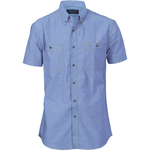 DNC Workwear-DNC Cotton Chambray S/S Shirt with Twin Pocket-XS / Chambray-Uniform Wholesalers - 1