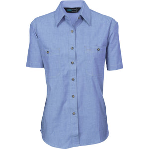 DNC Workwear-DNC Ladies Cotton S/S Chambray Shirt-6 / Chambray-Uniform Wholesalers - 2