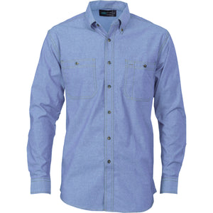 DNC Workwear-DNC Cotton Chambray L/S Shirt with Twin Pocket-XS / Chambray-Uniform Wholesalers - 1