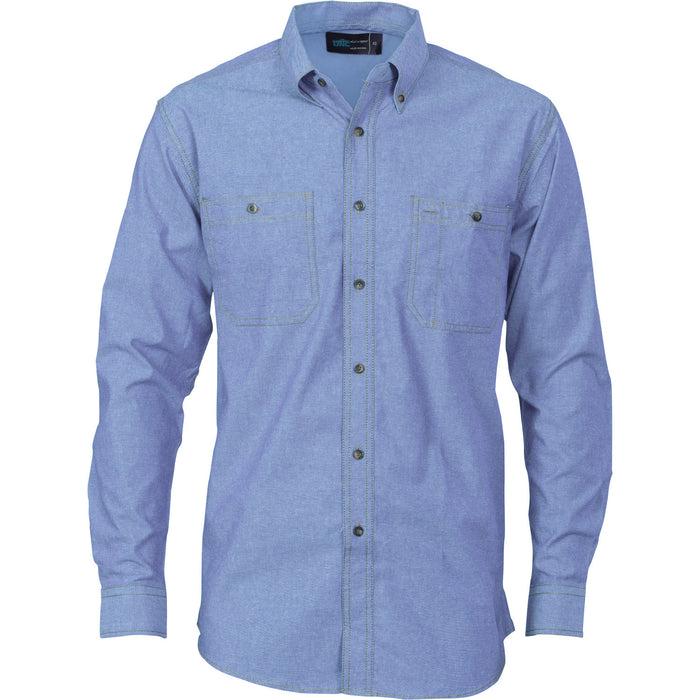 DNC Cotton Chambray L/S Shirt with Twin Pocket (4102)