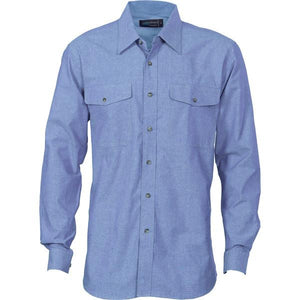 DNC Workwear-DNC Mens Twin Flap Pocket L/S Cotton Chambray-S / Chambray-Uniform Wholesalers - 2