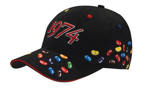 Headwear-Headwear Brushed Heavy Cotton with Jelly Bean Embroidery-Black / Free Size-Uniform Wholesalers