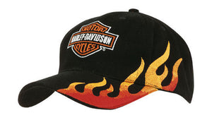 Headwear-Headwear Brushed Heavy Cotton with Flame Embroidery-Black/Gold-Uniform Wholesalers