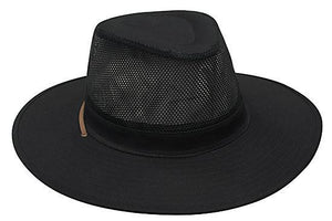 Headwear-Headwear Safari Cotton Twill & Mesh Hat-Black / S-Uniform Wholesalers - 2
