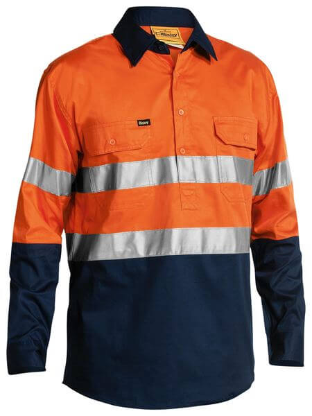 Bisley 2 Tone Hi Vis Cool Lightweight Closed Front Shirt 3M Reflective Tape - Long Sleeve (BSC6896)