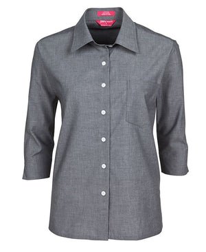 JB's Wear-Jb's Ladies 3/4 Sleeve Fine Chambray Shirt-Charcoal / 8-Uniform Wholesalers - 4