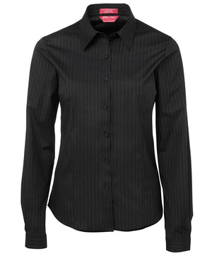 JB's Wear-JB's Ladies Urban L/S Poplin Shirt-Black/White / 6-Uniform Wholesalers - 2
