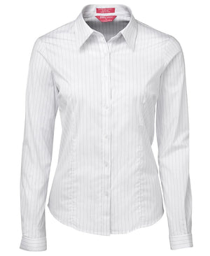 JB's Wear-JB's Ladies Urban L/S Poplin Shirt-White/Black / 6-Uniform Wholesalers - 7