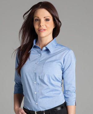 JB's Wear-Jb's Ladies 3/4 Sleeve Fine Chambray Shirt--Uniform Wholesalers - 1