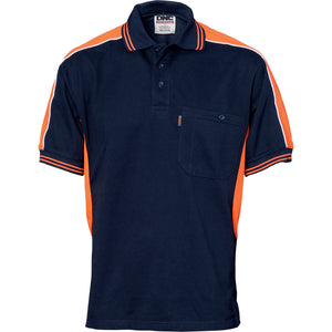 DNC Workwear-DNC Polyester Cotton Panel S/S Polo Shirt-Navy/Orange / L-Uniform Wholesalers - 2