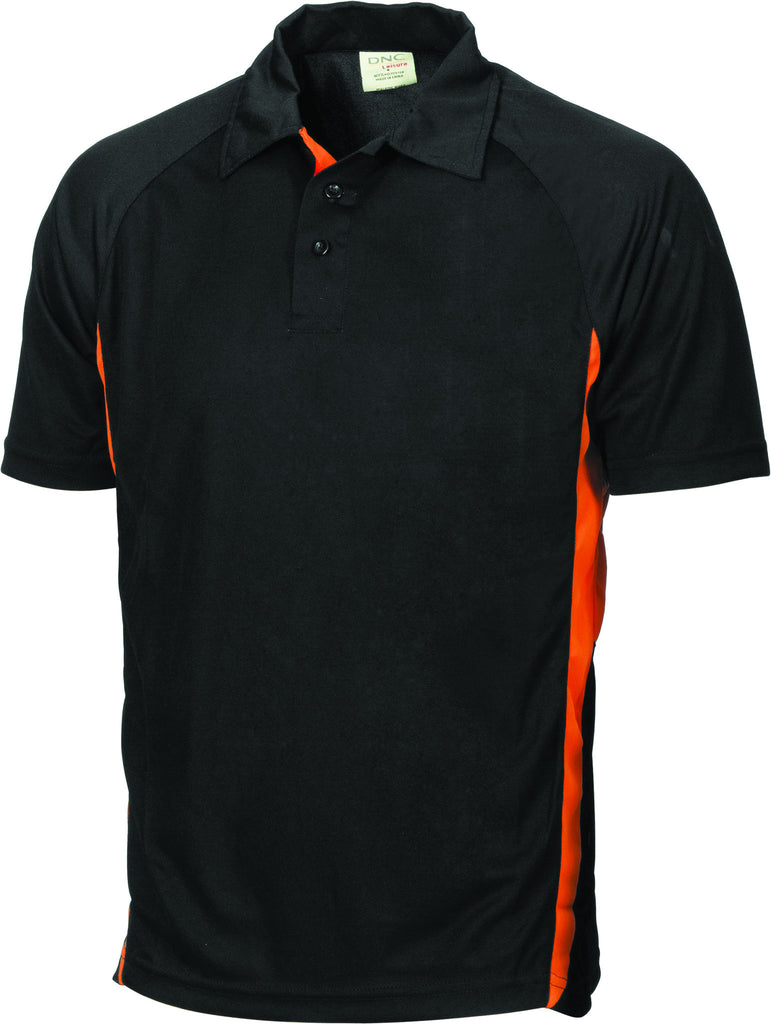DNC Workwear-DNC Adult Cool-Breathe Side Panel Polo Shirt-Black/Orange / S-Uniform Wholesalers - 2