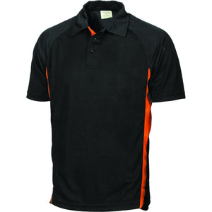 DNC Workwear-DNC Kids Cool-Breathe Side Panel Polo Shirt-4 / Black/Orange-Uniform Wholesalers - 1