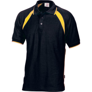 DNC Workwear-DNC Mens Poly/Cotton Contrast Raglan Panel Polo-Black/Gold / S-Uniform Wholesalers - 2