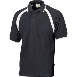 DNC Workwear-DNC Mens Poly/Cotton Contrast Raglan Panel Polo-Black/White / S-Uniform Wholesalers - 3