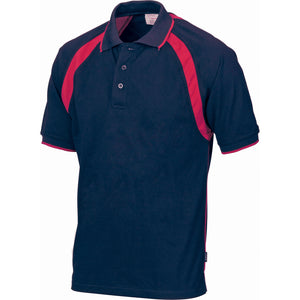 DNC Workwear-DNC Mens Poly/Cotton Contrast Raglan Panel Polo-Navy/Red / S-Uniform Wholesalers - 5
