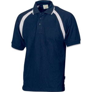 DNC Workwear-DNC Mens Poly/Cotton Contrast Raglan Panel Polo-Navy/White / S-Uniform Wholesalers - 6