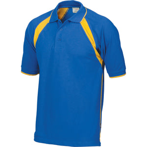 DNC Workwear-DNC Mens Poly/Cotton Contrast Raglan Panel Polo-Royal/Gold / S-Uniform Wholesalers - 7