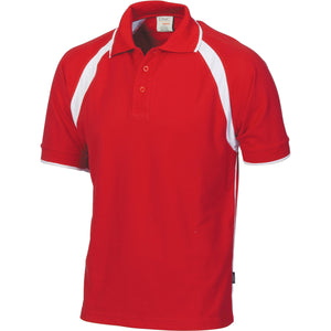 DNC Workwear-DNC Mens Poly/Cotton Contrast Raglan Panel Polo-Red/White / S-Uniform Wholesalers - 9