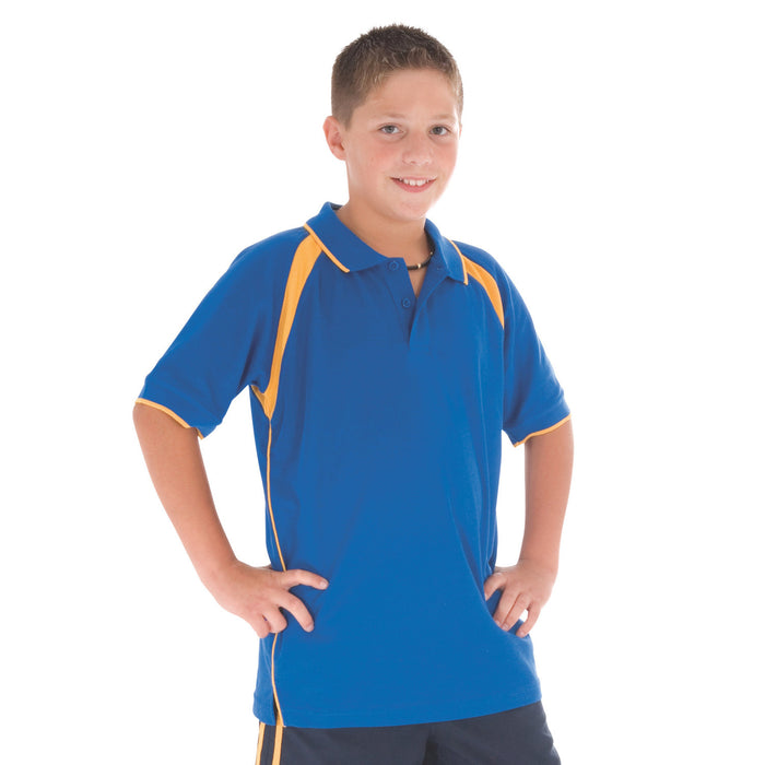 DNC Kids Poly/Cotton Contrast Raglan Panel Polo (5248)