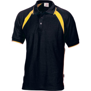 DNC Workwear-DNC Kids Poly/Cotton Contrast Raglan Panel Polo-4 / Black/Gold-Uniform Wholesalers - 2