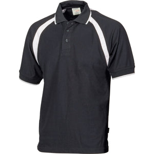 DNC Workwear-DNC Kids Poly/Cotton Contrast Raglan Panel Polo-4 / Black/White-Uniform Wholesalers - 3
