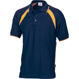 DNC Workwear-DNC Kids Poly/Cotton Contrast Raglan Panel Polo-4 / Navy/Gold-Uniform Wholesalers - 4