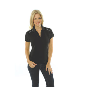 DNC Workwear-DNC Ladies Cotton Rich Paris Polo-Black/White / 8-Uniform Wholesalers - 2