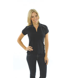 DNC Workwear-DNC Ladies Cotton Rich Paris Polo-Navy/White / 8-Uniform Wholesalers - 3