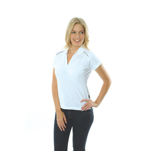 DNC Workwear-DNC Ladies Cotton Rich Paris Polo-White/Navy / 8-Uniform Wholesalers - 5