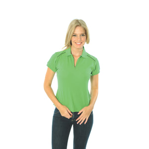 DNC Workwear-DNC Ladies Cotton Rich Paris Polo-Cool Lime/Navy / 8-Uniform Wholesalers - 8