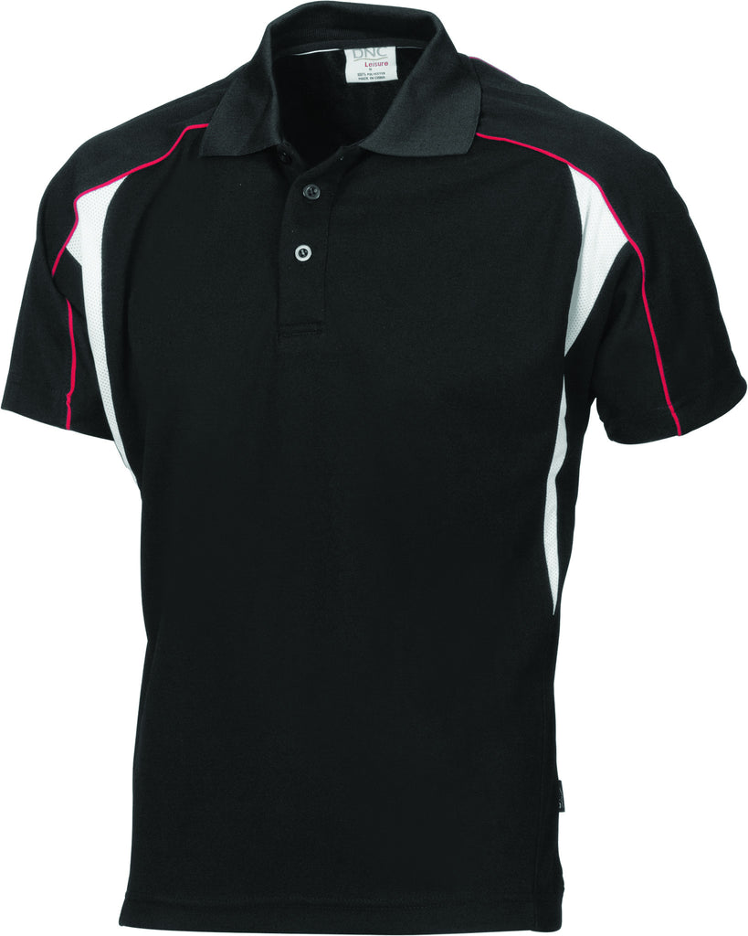 DNC Workwear-DNC Air Flow Contrast Mesh 'N' Piping Polo-Black/Red/white / 2XL-Uniform Wholesalers - 3