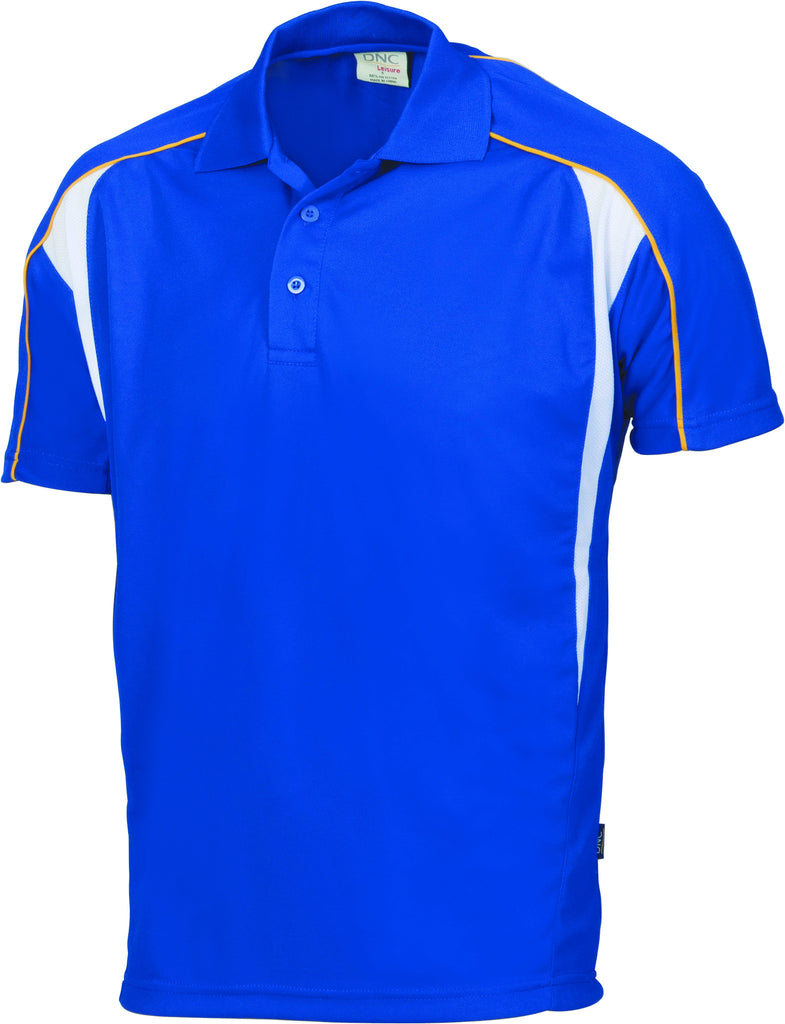 DNC Workwear-DNC Air Flow Contrast Mesh 'N' Piping Polo-Royal/Gold/White / XS-Uniform Wholesalers - 1