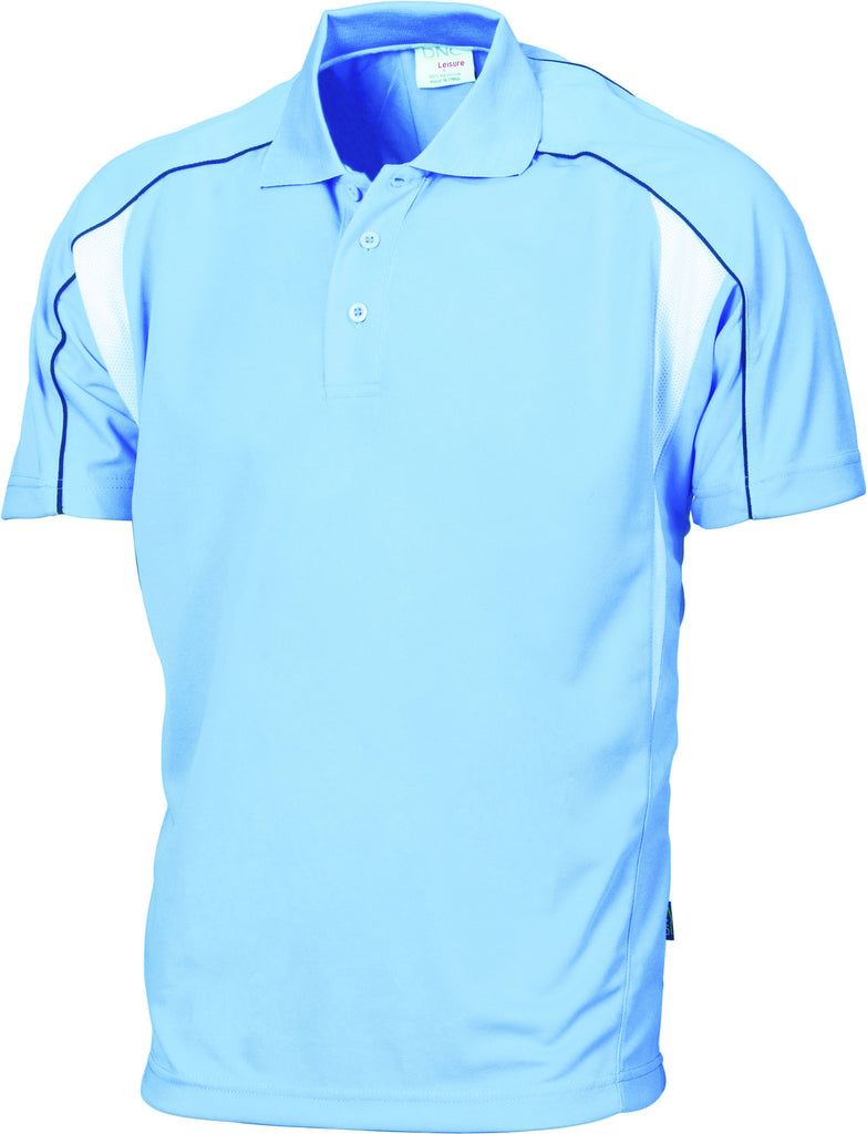 DNC Workwear-DNC Air Flow Contrast Mesh 'N' Piping Polo-Sky/Navy/White / XS-Uniform Wholesalers - 5