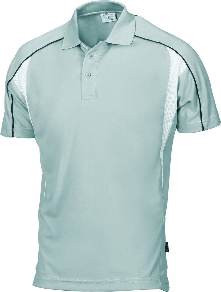 DNC Workwear-DNC Air Flow Contrast Mesh 'N' Piping Polo-Light Grey/Black/White / S-Uniform Wholesalers - 4