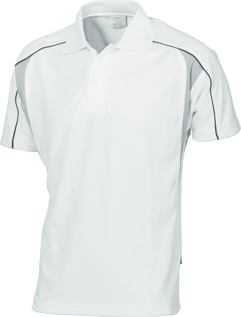 DNC Workwear-DNC Air Flow Contrast Mesh 'N' Piping Polo-White/Black/Grey / XS-Uniform Wholesalers - 6