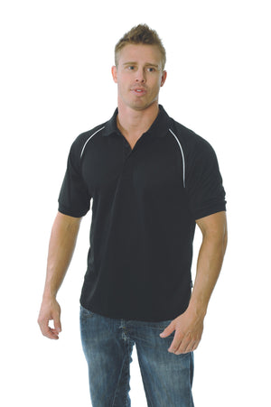 DNC Workwear-DNC Mens Cool Breathe Rome Polo-Black/White / S-Uniform Wholesalers - 2