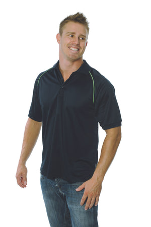 DNC Workwear-DNC Mens Cool Breathe Rome Polo-Navy/ Cool Lime / S-Uniform Wholesalers - 4