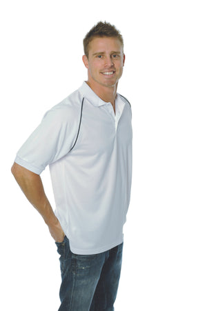 DNC Workwear-DNC Mens Cool Breathe Rome Polo-White/Navy / S-Uniform Wholesalers - 5
