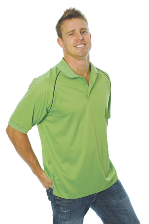 DNC Workwear-DNC Mens Cool Breathe Rome Polo-Cool Lime/Navy / S-Uniform Wholesalers - 7