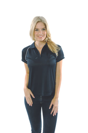 DNC Workwear-DNC Ladies Cool Breathe Rome Polo-Navy/White / 8-Uniform Wholesalers - 3