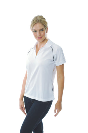 DNC Workwear-DNC Ladies Cool Breathe Rome Polo-White/Navy / 8-Uniform Wholesalers - 5