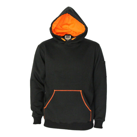 DNC Workwear-DNC Kangaroo pocket super brushed fleece hoodie-XS / Black/Orange-Uniform Wholesalers