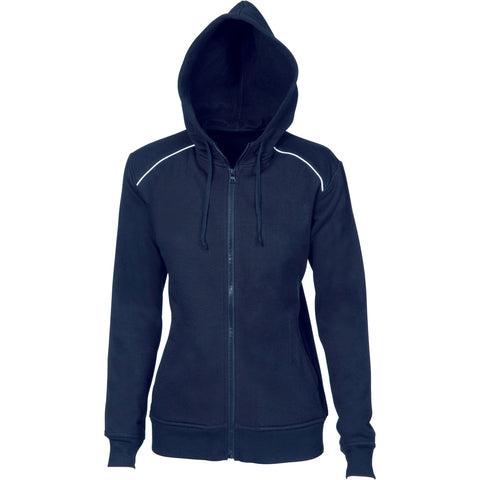 DNC Workwear-DNC Ladies Contast Piping Fleecy Hoodie-6 / Navy/White-Uniform Wholesalers