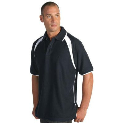 DNC Mens Poly/Cotton Contrast Raglan Panel Polo (5243)