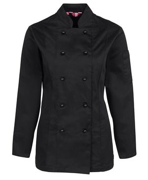 JB's Wear-JB's Ladies L/S Chef's Jacket-Black / 6-Uniform Wholesalers - 3