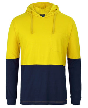 JBs Wear Hi Vis L/S Cotton Tee With Hood (6HCTL)