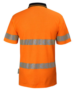 JBs Wear Hi Vis (D+N) Cotton Back S/S Segmented Tape Polo (6HMSS)
